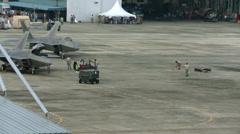 F-22 Raptor stealth fighter jet take off Stock Footage