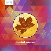 Stock Illustration of Geometric background card with maple leaf. EPS 10