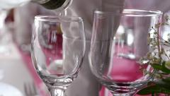 Pouring vodka in glasses in a ceremony, closeup Stock Footage