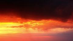 thunderstorm at orange sunset - stock footage