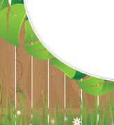 wooden fence and lush foliage - stock illustration