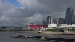 Barge passes Cincinnati  Ball Park Stock Footage
