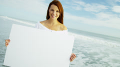 Close Up Caucasian Girl Holding White Summer Tourism Message Board Stock Footage