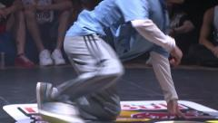 Stock Video Footage of Hip-Hop breakdancer dancing in a nightclub. Close up.
