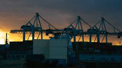Crane in harbor, loading ships, hamburg Stock Footage