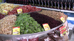 Food shop display in Cyprus Stock Footage