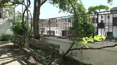 Benches at the square Holy Virgin Church, Panagia, Thassos, Greece Stock Footage
