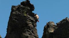 Rock climbing rappel Stock Footage