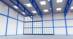 Interior of a empty warehouse with blue colour construction Piirros