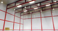 Interior of a empty warehouse with colour construction Piirros