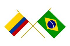 Stock Illustration of flags, brazil and colombia