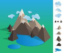 illustration of geometric mountaun lake landscape - stock illustration