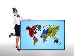 Plasma panel with world map Stock Illustration