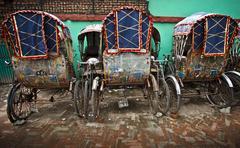nepal ricksaw - stock photo
