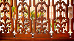 Beautiful wooden fence with ornaments. Macro video shift motion Stock Footage