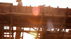 KOH SAMUI, THAILAND - JUNE 21: builder worker at roofing construction works. Stock Footage