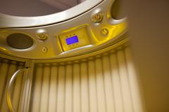 Stand up tanning system interior Stock Photos