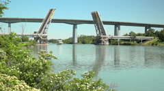 Open Bridge and Cabin Cruiser Stock Footage