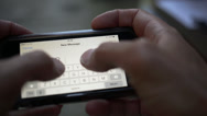 Typing on smartphone, message on iPhone Stock Footage
