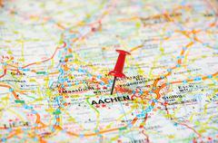 aachen , belgium pin  map - stock photo