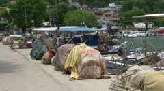 Fishing boats in chrisi akti, Thassos Greece Stock Footage
