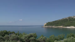Pan from coast Thassos Greece Stock Footage
