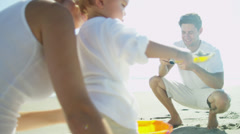 Proud Caucasian Couple Young Son Beach Outing Stock Footage