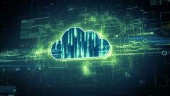 Stock Video Footage of Digital cloud computing concept