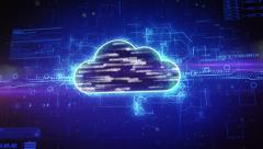 Digital cloud computing concept Stock Footage
