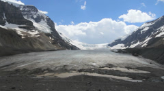 Canada Athabasca Glacier with hikers at terminus c Stock Footage