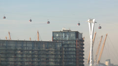 CANARY WHARF LONDON CABLE CAR Building wide shot Stock Footage