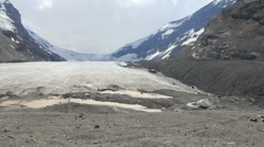 Canadian Rockies Athabasca Glacier tiny figures Stock Footage