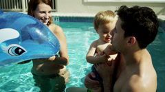 Caucasian Parents Child Home Swimming Pool Stock Footage