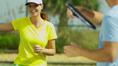 Healthy Caucasian Couple Outdoor Tennis Court Stock Footage