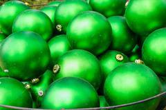 Green christmas ornament balls Stock Photos
