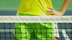 Portrait Active Young Caucasian Female Enjoying Tennis Stock Footage