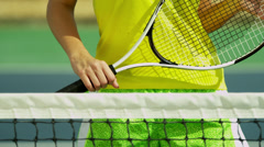 Smiling Caucasian Girl Promoting  Active Tennis Lifestyle Stock Footage