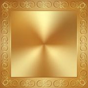 Vector abstract metal gold frame with ornament Stock Illustration