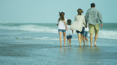 Casual Dressed Caucasian Family Outdoors Together Beach Autumn - stock footage