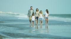 Caucasian Family Casual Clothing Enjoying Summer Beach Walking - stock footage