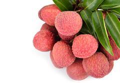 Fresh lychees isolated Stock Photos
