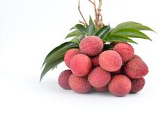 fresh lychees isolated - stock photo