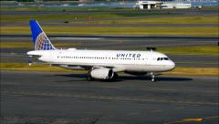 United Airlines Airbus taxies Stock Footage