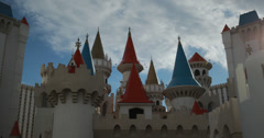 4K video of the Excalibur Hotel and Casino in Las Vegas, Nevada Stock Footage