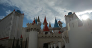Stock Video Footage of 4K video of the Excalibur Hotel and Casino in Las Vegas, Nevada