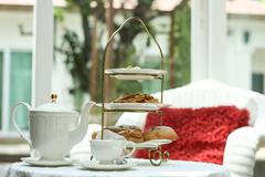 afternoon tea and cake - stock photo