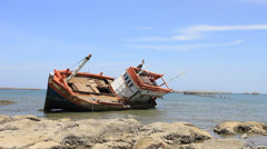 Wreck havoc on the fishing boats in the sea. Stock Footage