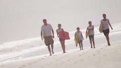 Young Caucasian Girls Parents Beach Bodyboard Summer Surfboard Stock Footage