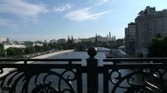 Kremlin summer through railings of the bridge and river Stock Footage