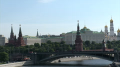 Kremlin in the summer across the bridge and river Stock Footage